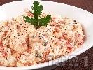 Рецепта Гръцка салата от печени чушки, сирене Фета и майонеза